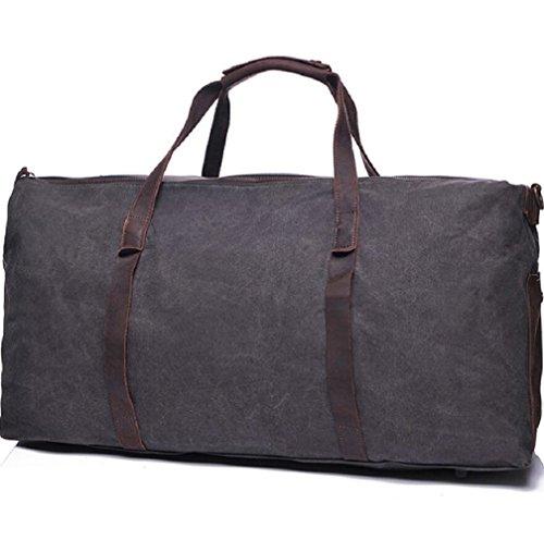 ZC&J Al aire libre 20-35L Capacidad de cuero de gran capacidad de acampar viaje de viaje de equipaje de cuero bolsa, lona impermeable duro desgaste Adecuado para hombres y mujeres utilizan bolso,B,20- B