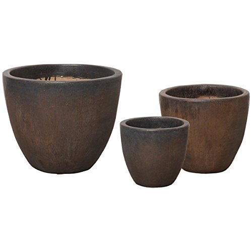 Round Tapered Ceramic Planter - Distressed Brown & Rust (Set of 3) by Emissary