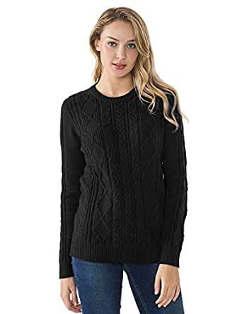 PrettyGuide Women's Sweater Crewneck Cable Knit Long Sleeve Pullover Tops S Black