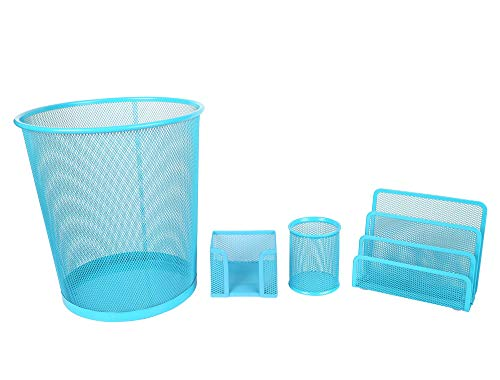 Exerz Deluxe Mesh Office Set 4 Pcs – Include Mesh Bin, Letter Shelf/Holder/Rack, Memo Holder, Pen Holder/Pot. Sleek and Anti-Scratch Design, Suitable for Office, Home Office, School, Study - Blue by Exerz