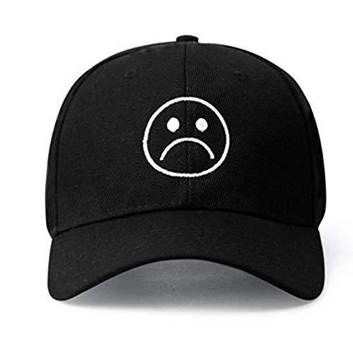 Home Fashion DIY Sad Boys Adjustable Hat Crying Face Embroidery Baseball Cap Dad Hat Hip Hop Cap (Black)