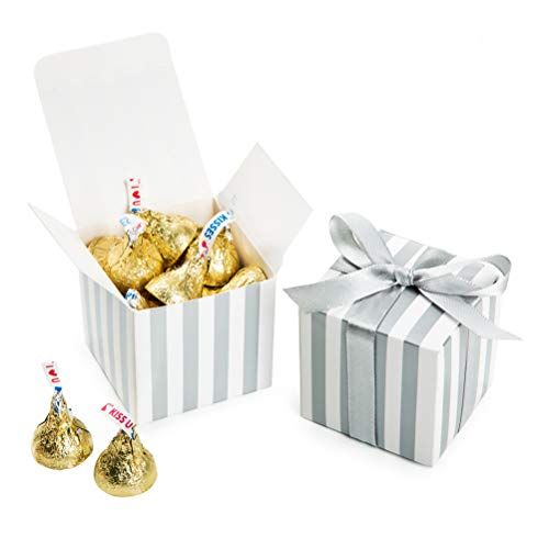 AWELL Small Candy Box Bulk 2x2x2 inch with Ribbon, Silver White Strips Box Party Favors Pack of 50