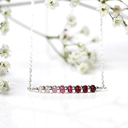 Collar de gargantilla de rubí de Sri Lanka, rubí rojo natural, barra mínima, plata de ley/oro amarillo, piedra de nacimiento de julio, regalo para ella de 3,5 mm