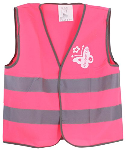 [AllwaySmart Kids Girls Safety Vest girls High Visibility for Biking, Scooter Riding or Construction Costume, Pink,] (Girl Construction Worker Costumes)