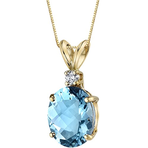 - 14 Karat Yellow Gold Oval Shape 3.00 Carats Swiss Blue Topaz Diamond Pendant