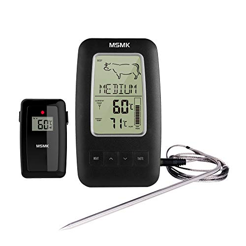 MSMK MK2245 Digital Cooking Grill Thermometer with Wireless Remote Magnetic Back Stainless Steel Temperature Probe for Kitchen Smoker Grill BBQ Food Meat Thermometer