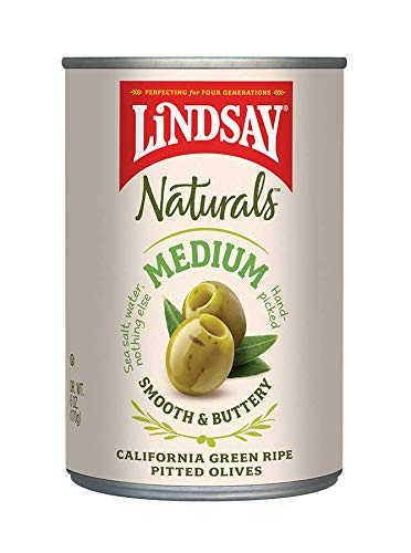 Olives Black Medium Pitted (Lindsay Naturals Medium Pitted Ripe Green Olives, 6 oz (Pack of 12))