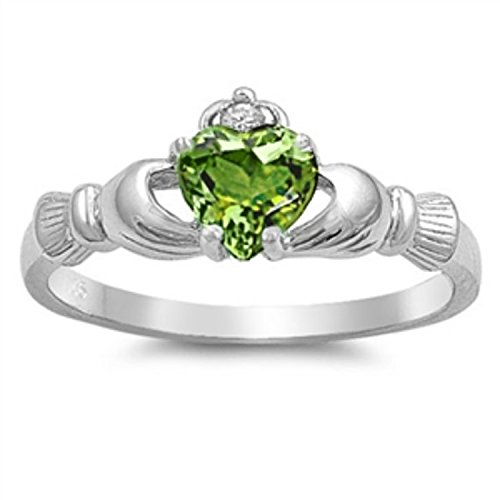 925 Sterling Silver Claddagh Ring Simulated Light Peridot Green Clear CZ Accent Wedding Ring