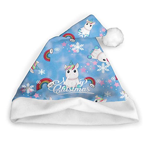 Snow Drifting Childrens Christmas Hat Santa Caps Print Xmas Costumes Unisex Christmas Eve Headdress (Snow Drifting)