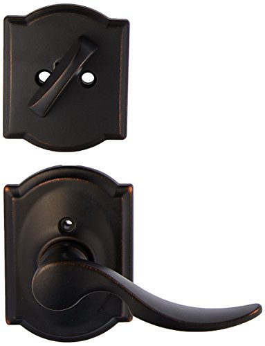 Schlage Lock Company F59STA716CAMRH Aged Bronze St. Annes Right Handed Interior Pack Lever Set with Single Cylinder Deadbolt and Decorative Camelot Rose