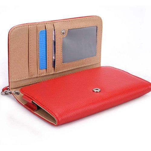 Pantech Perception Universal Ladies wristlet wallet in Red Plus bonus Neviss luggage tag