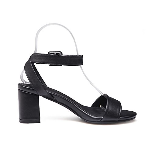 Womens Soft Open Material Solid Toe Sandals Black High Heels AllhqFashion Buckle d5OwZqdxt