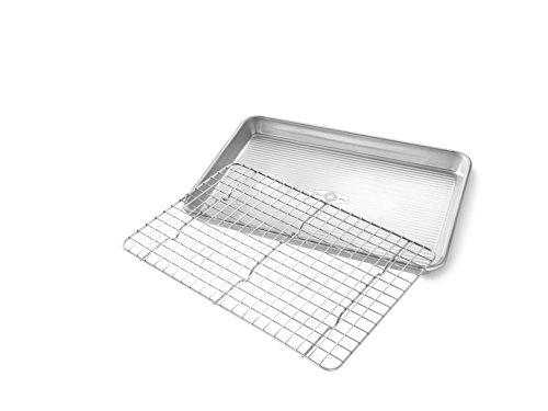 USA Pan Bakeware Quarter Sheet Baking Pan and Bakeable Nonstick Cooling Rack Set, Metal