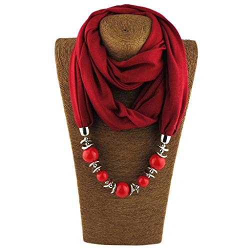 W-FIGHT Neckerchief Ring Scarf Necklaces Beads Solid Color Jewelry Shawl