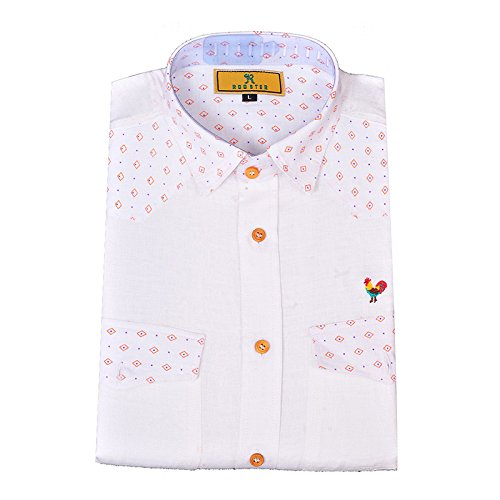 4c443ec1daa3 White Color Pure Linen Designer Shirt (Large-40) - Rooster Den  Amazon.in   Clothing   Accessories