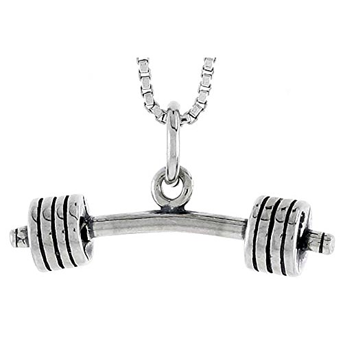 Charm Silver Barbell (Sterling Silver Barbell Charm, 1 inch tall)