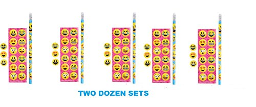 (24) EMOJI Stationary Sets ~ EMOTICON Party Favors ~ Birthday Goody Bag Fillers ~ COACH TEAM ~ Teacher End Year ~ Easter Basket ~ VALENTINE ~ Classroom Holiday Prize (Halloween Emoticons For Iphone)