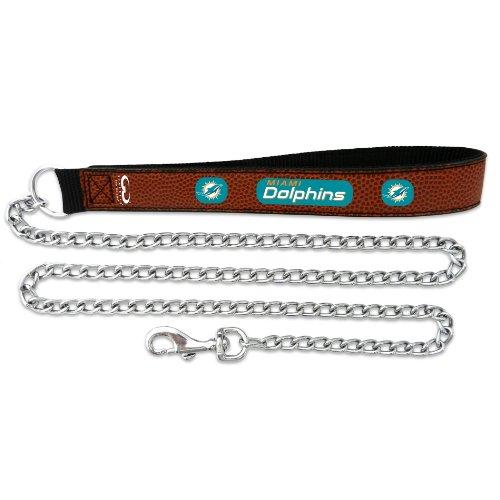 NFL Miami Dolphins Football Leather 2.5mm Chain Leash, Medium