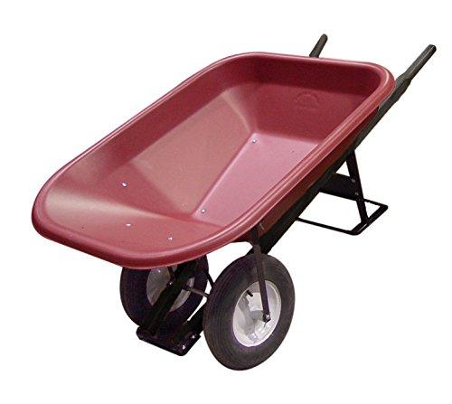 Bon 28-977 10-Cubic Foot Poly Tray Premium Landscape Wheelbarrow, Steel Handle, Double Wheel, Flat Free - Wheelbarrow Ft Cu 10