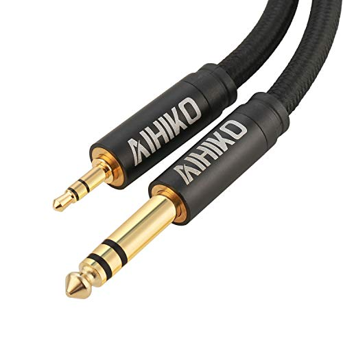 AIHIKO 3.5mm to 6.35mm Audio Cable with Zinc Alloy Housing and Gold Plugs Nylon Braid Stereo 1/4-inch to 1/8-inch Jack Cord for Phone, Laptop, Home Theater Devices and Amplifiers - 6 Feet Black