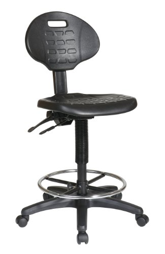 Office Star Urethane Seat and Back Contour Intermediate Drafting Chair with Adjustable Footrest and Multi Task Control, Black by Office Star