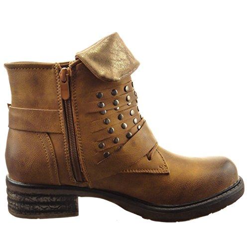 Sopily - damen Mode Schuhe Stiefeletten Biker Nieten - besetzt Reißverschluss - Camel