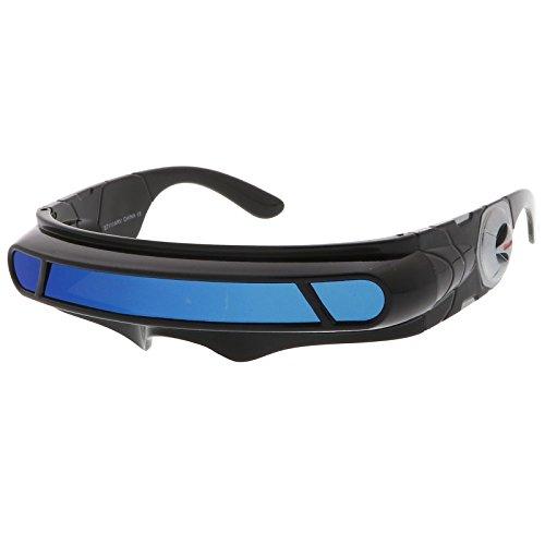 sunglassLA - Futuristic Cyclops Shield Colored Mirror Mono Lens Wrap Sunglasses 147mm (Black / Blue - Robot Sunglasses
