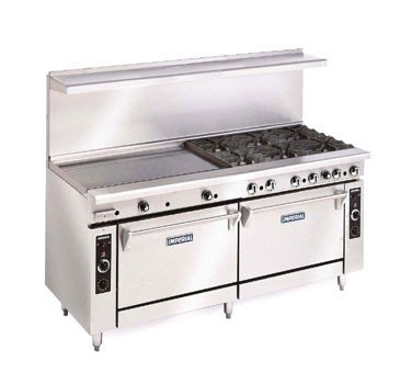 Imperial Commercial Restaurant Range 72'' With 4 Burners 48'' Griddle 2 Standard Ovens Nat Gas Ir-4-G48 by Imperial
