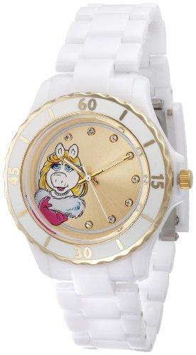 Muppets Women's MU2050 Miss Piggy Gold Sunray Dial White Plastic Bracelet Watch