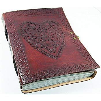 (Leather Journals Large Vintage Heart Embossed Leather Journal Notebook Diary (Handmade Paper) - Coptic Bound with Lock Closure)