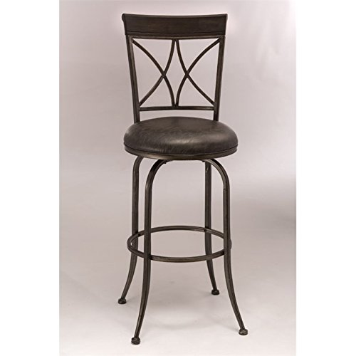 Hillsdale Furniture Swivel Barstool in Antique Pewter Finish ()