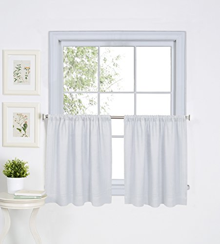 Elrene Home Fashions 026865775112 Solid Hemstitched Rod Pocket Cafe/Kitchen Tier Window Curtain, Set of 2, 30″ x 24″, White