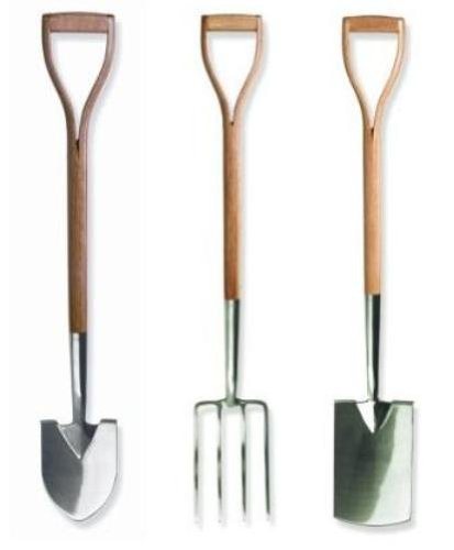 Brook & Hunter Combo-DY-3D Premium 3-Piece Combo Kit With Stainless Steel Alloy Polished Shovel, Fork & Spade With Hand Crafted Red Oak Handles