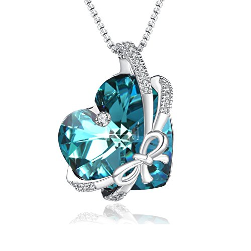 PLATO H Swarovski Element Necklace Butterfly Love Romantic Heart Necklace Crystal Pendant Necklace for Women, Birthday Birthstone Jewelry Gifts for Girl, Ocean Blue, 18
