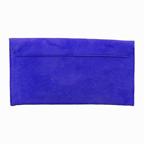bleu Accessoryo de daim enveloppe de dames sac cobalt d'embrayage soir FrOfTXrac