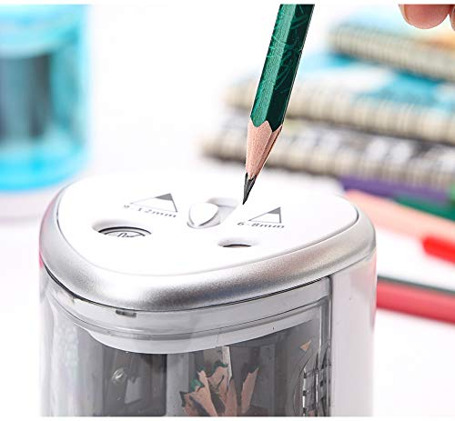 Temperamatite elettrico automatico a doppio foro 6-8 mm e 9-12 mm per bambini studenti artisti professionisti
