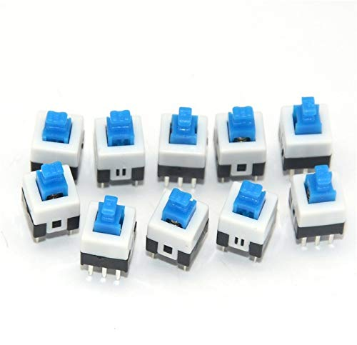 10x Mini Push Button Self-Locking Switch 6-Pin Square DPDT 7mm Switches Blue