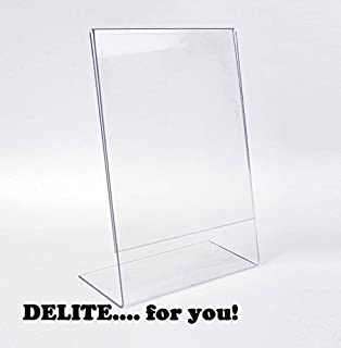 DELITE Acrylic - 8 X 6 inch Photo Frame Sign Message Stand Display Holder  set & Acrylic Table Tent Menu/Card Holders - 4