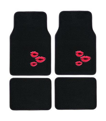 - CAR + Black Plush Premium Quality Car Floor Mats Heavy Duty w/Unique Heel Pad (Set of 4) (Red Kiss)