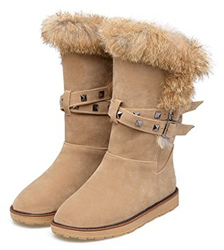 Round Trendy Faux Women's Snow Boots Sfnld Fur Apricot Pull Studs Toe Strap On Warm Y5Eqwqd