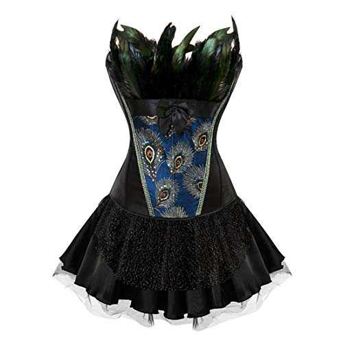 Zhitunemi Plus Size Corsets for Women Black Bustier Lingerie for Gothic Peacock Halloween Dress Costume Black 2X-Large ()