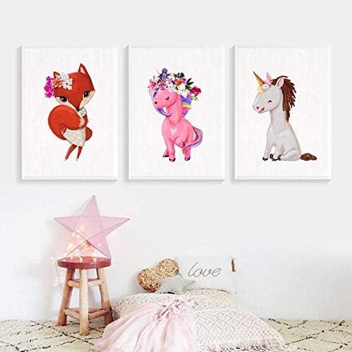 漫画キツネユニコーン北欧子供部屋現代のキャンバス絵画壁写真用リビングルーム家の装飾-40×50センチ×3個フレームなし
