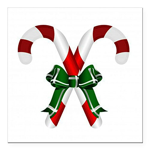 CafePress - Christmas Candy Cane with Bows Square Car Magnet 3 - Square Car Magnet, Magnetic Bumper Sticker