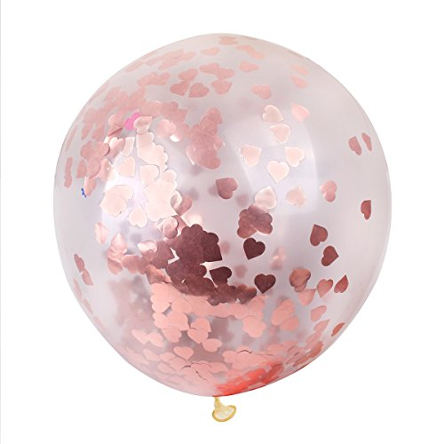 Jumbo Rose Gold Confetti Balloons - FengRise Pack of 5,36
