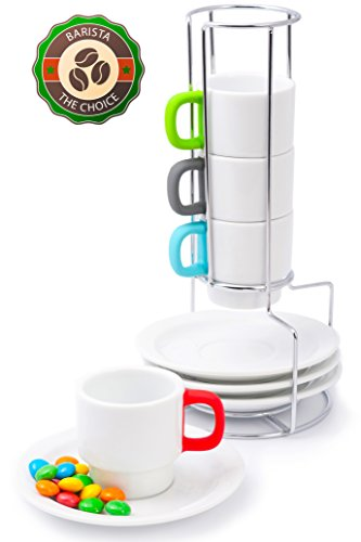 Demitasse Cup Set (Coffee Cups Doubleshot Espresso Stackable Set - Italy Design White Porcelain Demitasse Cup for Turkish Coffee - Bright Handles Protect Against Burns - 4 Cups 70ml / 2.4oz with Saucers - Chrome Rack)
