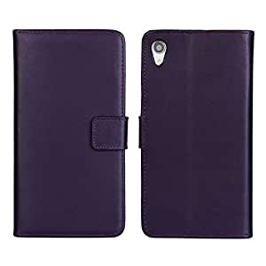 Fadlike Cowskin Flip Leather Wallet Card Pouch Stand Back Case Cover For Sony Xperia Z2 Purple