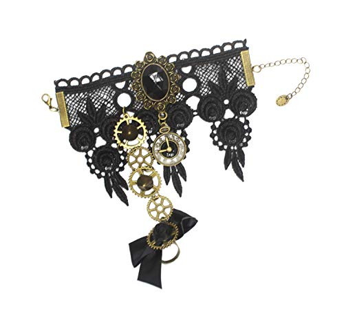 MEiySH Gothic Lolita Retro Steampunk Gear Lace Slave Bracelet Wristband Black Flower Ring (Black 1) from MEiySH