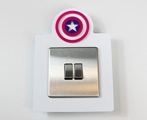 Captain America Style Single Light Switch Socket Acrylic Surround Colour Kids Room 3D Design (Pink & Purple on White) Plastic Online Ltd