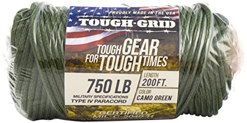 TOUGH-GRID 750lb Camo Green Paracord/Parachute Cord - Genuine Mil Spec Type IV 750lb Paracord Used by The US Military (MIl-C-5040-H) - 100% Nylon - Made in The USA. 50Ft. - Camo Green by TOUGH-GRID (Image #8)