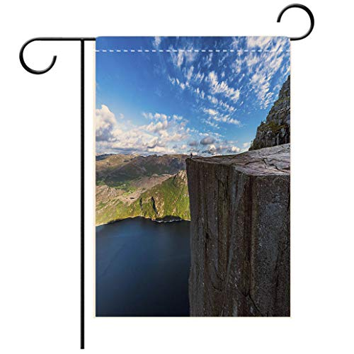 (BEISISS Polyester and Linen Garden Flag Outdoor Flag House Flag BannerTourist Sitting at Famous Pulpit Rock Edge in Norwaydecorated for Outdoor Holiday Gardens)